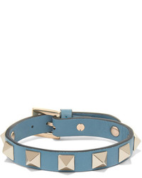 Valentino The Rockstud Leather And Gold Tone Bracelet Light Blue