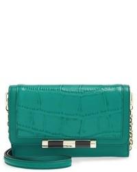 Diane von Furstenberg Large Currency 440 Croc Embossed Leather Shoulder Bag