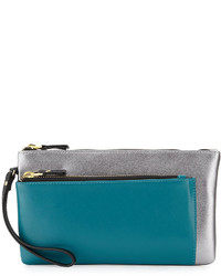 Neiman Marcus Leather Colorblock Clutch Bag Pewterpeacock Teal