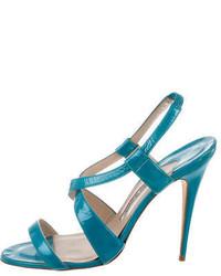 Manolo Blahnik Metallic Crossover Sandals