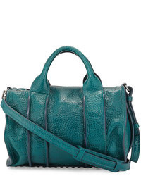 Alexander Wang Inside Out Rocco Pebbled Leather Satchel Bag Dark Mosaic Teal