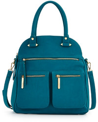 Neiman Marcus Dome Faux Leather Satchel Bag Teal
