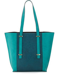 Teal Leather Tote Bag