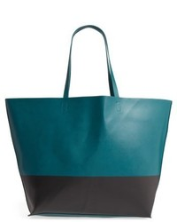 Colorblock Faux Leather Tote Green