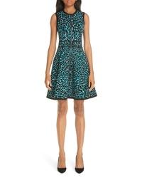 Michael Kors Leopard Print Zip Front Fit Flare Dress