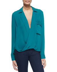 Teal long sleeve blouse original 10021628