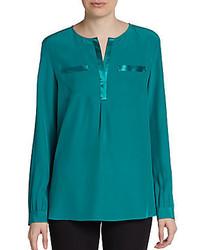 Lafayette 148 new york samantha patch pocket silk blouse medium 328217