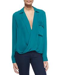 Lola long sleeve silk blouse teal medium 328214