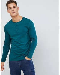ASOS DESIGN Long Sleeve T Shirt With Grandad Neck In Green