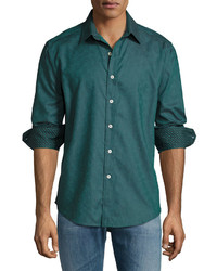 Robert Graham Circus Maximus Long Sleeve Sport Shirt Teal