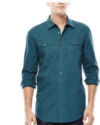 JF J.Ferrar Jf J Ferrar Long Sleeve Triple Needle Woven Shirt