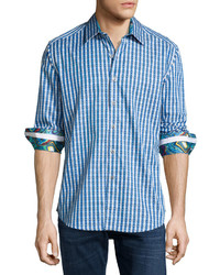Robert Graham Luxor Long Sleeve Sport Shirt Turquoise