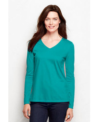 Lands' End Relaxed Supima V Neck T Shirt Rich Sapphire