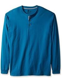 Hanes Long Sleeve Beefy Henley T Shirt