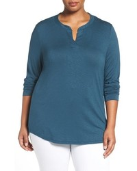 Plus size split neck long sleeve tee medium 845011
