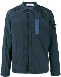 Stone Island Blue Nylon Metal Overshirt Jacket