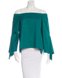 Tibi Off The Shoulder Long Sleeve Top