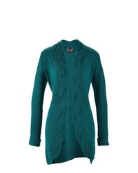bpc selection Cable Knit Cardigan In Teal Size 1012