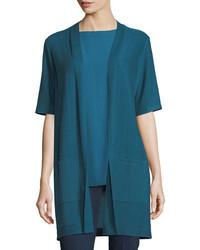Eileen Fisher Long Simple Half Sleeve Cardigan Petite