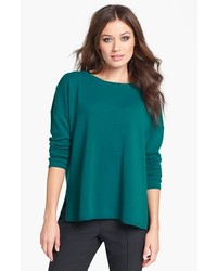 Nordstrom Collection Highlow Cashmere Crewneck Sweater Teal Dark Large