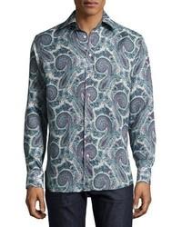 Etro Paisley Print Button Down Shirt Gray