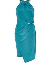 Teal necklace trim bodycon dress medium 66796
