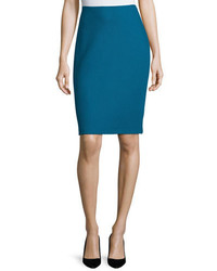 St. John Collection Textural Twill Pencil Skirt Baltic Blue
