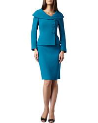 Tahari Portrait Collar Three Button Skirt Suit