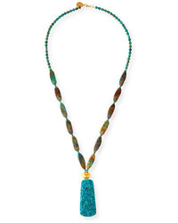 Devon Leigh Long Carved Turquoise Pendant Necklace