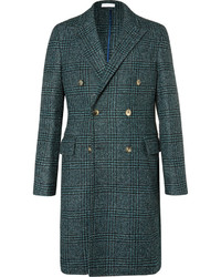 Boglioli Double Breasted Prince Of Wales Checked Wool Blend Boucl Coat