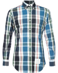 Thom Browne Long Sleeve Button Down Shirt In Large Red Grey And Navy Check Poplin