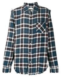 R13 Distressed Hem Plaid Shirt
