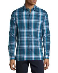 Plaid long sleeve sport shirt navy medium 615025