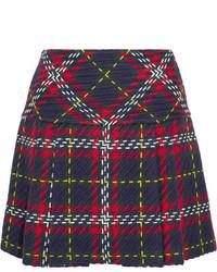 Miu Miu Pleated Tartan Wool Tweed Mini Skirt Navy