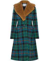 Prada Shearling Trimmed Tartan Wool And Alpaca Blend Coat Green