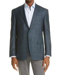 Canali Siena Soft Classic Fit Plaid Wool Sport Coat