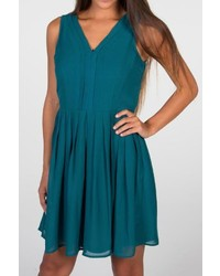 Doe R Teal V Neck Dress