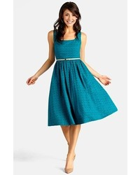 Donna Morgan Belted Eyelet Lace Fit Flare Dress