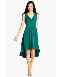 Ivy & Blu Pleated Front V Neck Dress Deep Teal 8