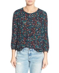 Hinge Print Button Front Blouse
