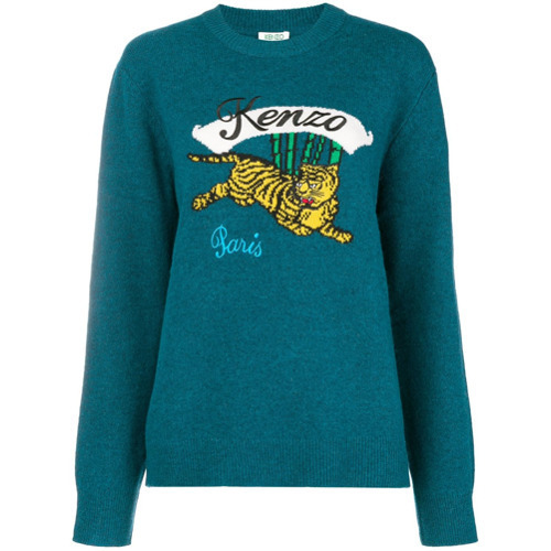 a5516dea ... Teal Print Crew-neck Sweaters Kenzo Bamboo Tiger Knitted Jumper ...
