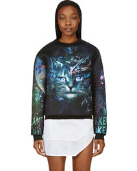 Juun.J Ssense Black Teal Cosmic Cat Sweatshirt