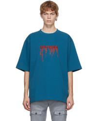 Dolce & Gabbana Blue Street Patchwork Frayed Y T Shirt