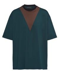 Prada Contrasting Panel Cotton T Shirt