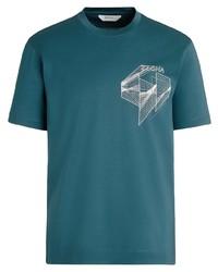 Z Zegna Logo Print Cotton T Shirt