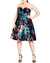 City Chic Floral Print Fit Flare Dress