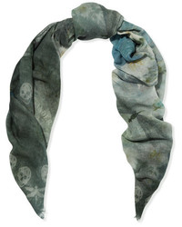 Alexander McQueen Printed Wool And Cashmere Blend Scarf Blue