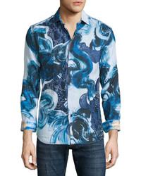 Robert Graham Limited Edition Printed Linen Sport Shirt Blue