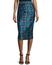 Milly Brushstroke Rectangle Print Pencil Skirt Azure
