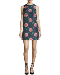 RED Valentino Sleeveless Wishing Flower Print Shift Dress Navy